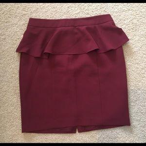 Forever 21, size medium, maroon peplum skirt